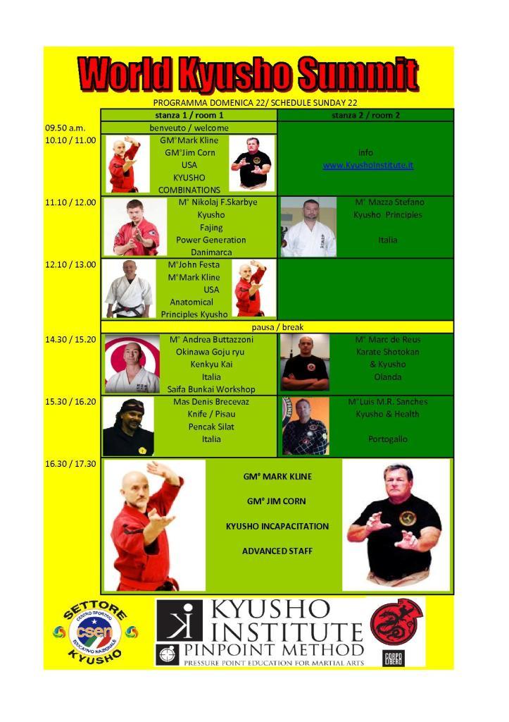 schedule domenica 22 novembre